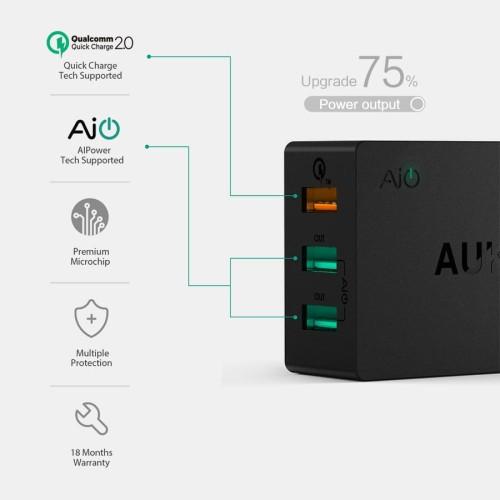 Foto Produk Aukey Charger USB 3 Port EU Plug 42W with QC 2.0 & AiPower dari Autoloot