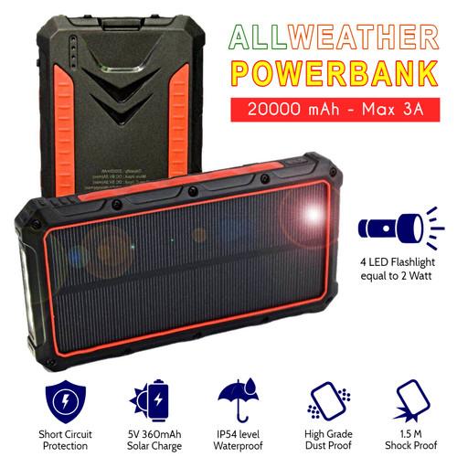 Foto Produk AllWeather Wireless Solar Powerbank 20000 mAh Waterproof 3A Charger - Hitam dari Ba-Wang