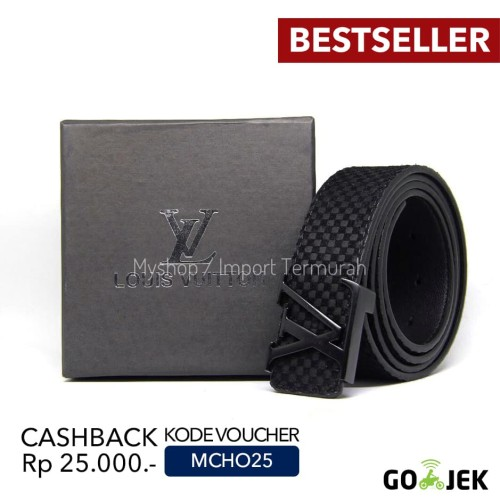 Foto Produk Gesper Sabuk Ikat Pinggang Kulit Pria Cowo Import Branded Kh 128 Black dari Toko Import Termurah