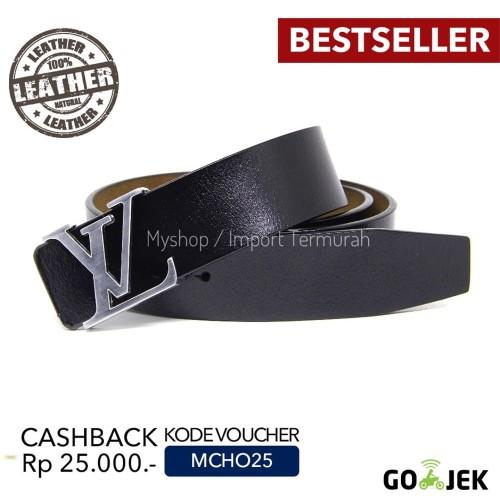 Foto Produk Gesper Sabuk Ikat Pinggang Kulit Asli Import Branded VL 55 Silver dari Toko Import Termurah