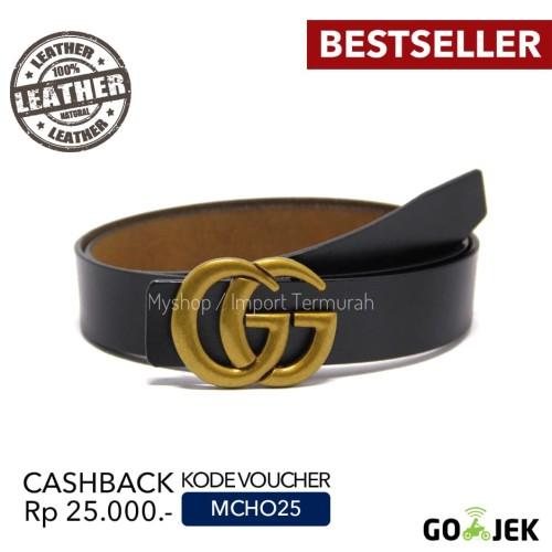 Foto Produk Gesper Sabuk Ikat Pinggang Kulit Asli Pria Cowo GG Gold - gold dari Toko Import Termurah