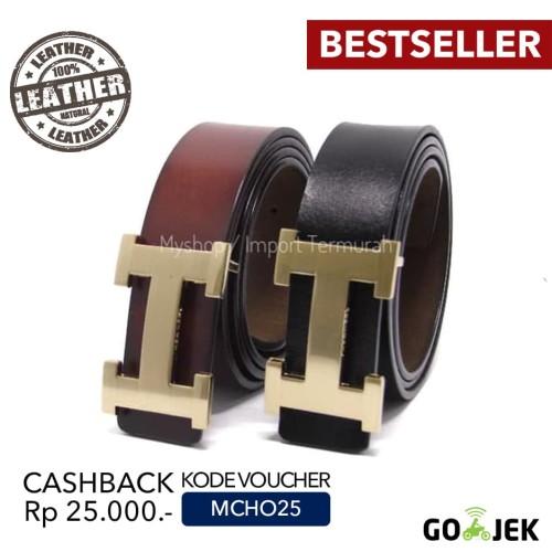 Foto Produk Gesper Sabuk Ikat Pinggang Kulit Asli Pria Cowo HM 07 Brown dari Toko Import Termurah
