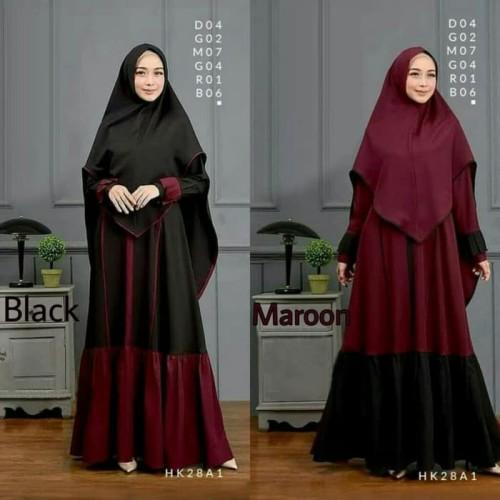 Foto Produk Aresya - Gamis Wanita Set Syarii Dress Muslim + Khimar - Maroon, AllSize fit L dari Putera Ahlam