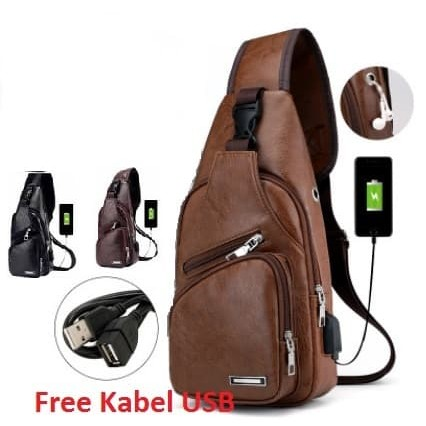 Foto Produk Tas Selempang Kulit Pria Sling Bag kulit USB Port Tas Selempang Bahu 1 - Cokelat Muda dari Alat Ukur Dan Repeater