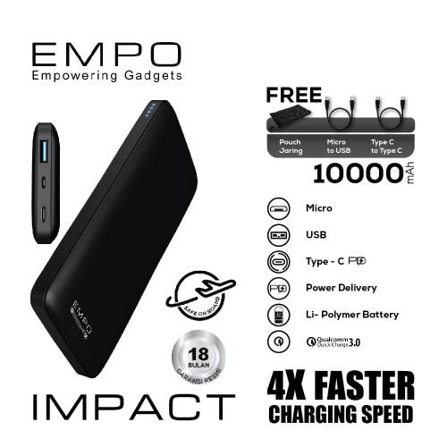 Foto Produk EMPO Impact Power Bank 10000mAh Quick Charge 3.0 + Power Delivery (B) dari EMPO