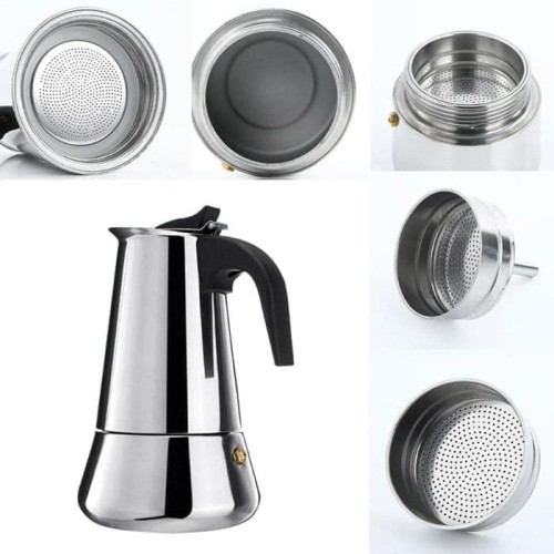 Foto Produk 300mili Teko Kopi Moka Pot Stainless Espresso Coffee Maker 6 cup dari terangjaya88