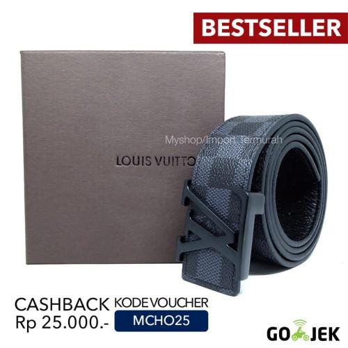 Foto Produk Gesper Sabuk Ikat Pinggang Kulit Pria Cowo Import Branded LV Black dari Toko Import Termurah