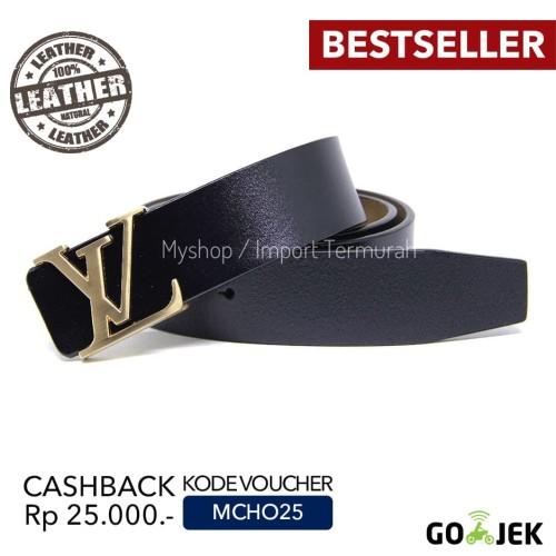 Foto Produk Gesper Sabuk Ikat Pinggang Kulit Asli Import Branded VL 55 Gold - Emas dari Toko Import Termurah