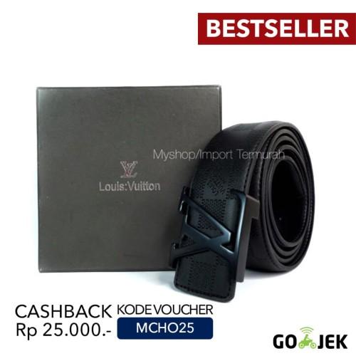 Foto Produk GESPER IKAT PINGGANG KULIT KANTOR PRIA COWO IMPORT LV 132 BLACK dari Toko Import Termurah