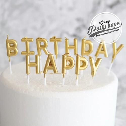 Foto Produk lilin huruf happy birthday gold lilin ultah lilin hbd gold candle hbd dari PARTY HOPE 2