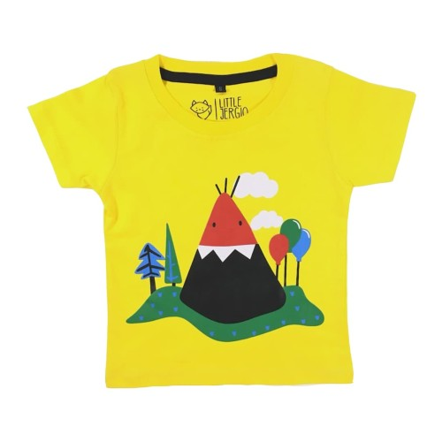 Foto Produk Kaos Anak - Anak Kuning | L025 Mountan Tee by Little Jergio - SMALL dari Little Jergio