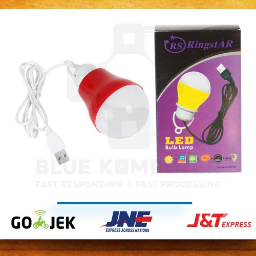 Foto Produk Lampu LED USB + Kabel 1,5meter / Lampu Bohlam LED 5 watt + Kabel USB dari bluekomputer