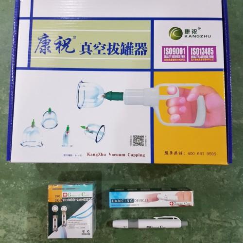 Foto Produk Paket Bekam Komplit Isi Kop Kangzhu 12 Cup + Pen Bekam + Jarum Lancet dari General Medical Supplier