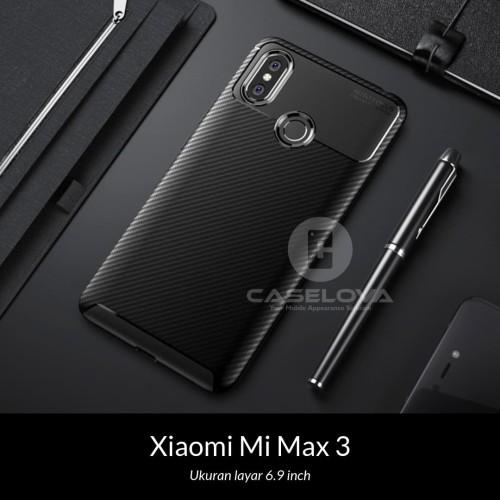 Foto Produk Case Xiaomi Mi Max 3 Synthetic Fiber Silicone Protective Carbon - Hitam dari Caselova Store