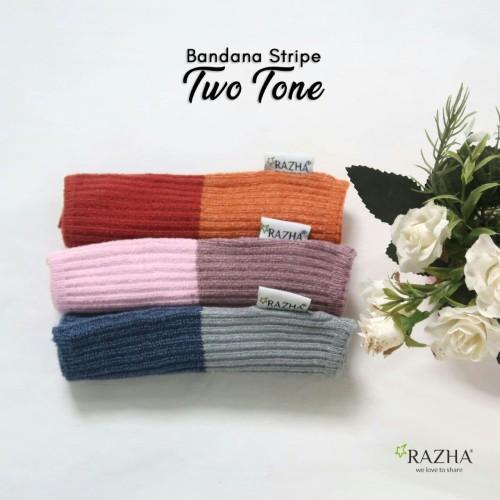 Foto Produk Bandana Rajut Razha Stripe Two Tone dari Momandkidz
