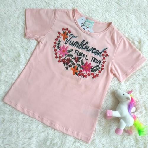 Foto Produk Embroidered Floral Tshirt - Pink / Kaos Floral Bordir - Pink - 3-4 tahun dari LITTLE DOVE CLOTHING
