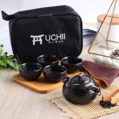 Foto Produk UCHII Ceramic Japan Tea Set Gift + Wooden Serving Plate & Portable Bag - Hijau Tosca dari uchii store