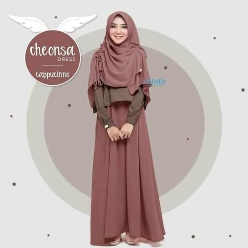 Foto Produk Baju Gamis Syar'i Remaja/Dress Muslim Wanita Cheensa/Set Syar'i - Cappucino dari All-NEW Shop