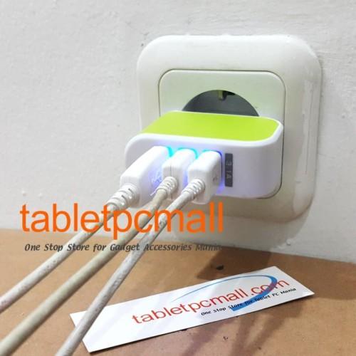 Foto Produk Adaptor Charger USB 3 Output Batok Kepala dari Tablet PC Mall