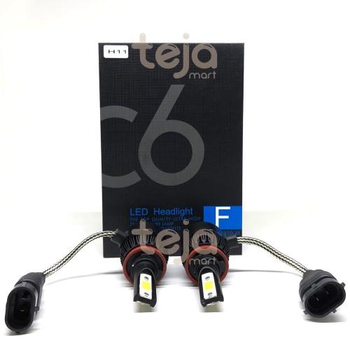 Foto Produk Lampu Utama LED Headlight Mobil COB C6 H11 Chips 36W - 3800Lm Hi/Lo TG dari TejaMart