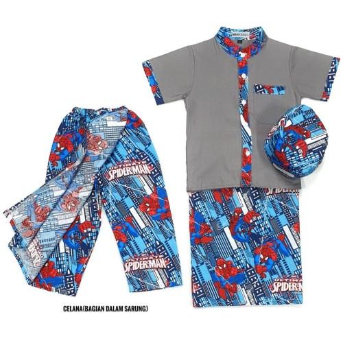Foto Produk Sarkoci Abu Spiderman 1 - 9 Tahun ( Sarung Koko peci ) maxenzo baju mu dari yopyshop