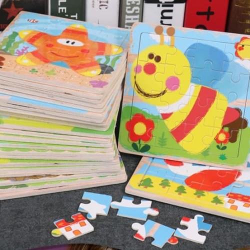 Foto Produk Mainan Edukatif / Puzzle Kayu / Jigsaw Puzzle 16 Pcs Lucu dari Gober House88