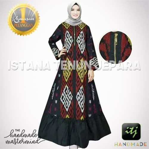 Jual Long Dress Gamis Tenun Blanket Muslimah Tenun Ikat Troso Jepara Kab Jepara Istana Tenun Jepara Tokopedia