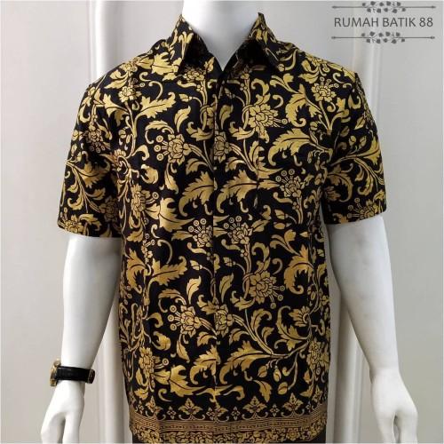 Foto Produk Kemeja Batik Pria Lengan Pendek Murah Baju Batik Cowok Motif - Hitam Emas, L dari RUMAH BATIK 88