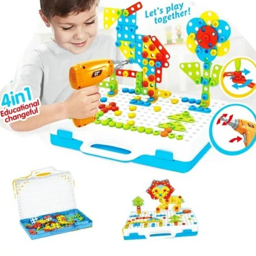 Foto Produk Mainan Edukasi Anak PUZZLE BOR/DRILL/SCREW PUZZLE CREATIVE PUZZLE 4~1 dari lovely kayy