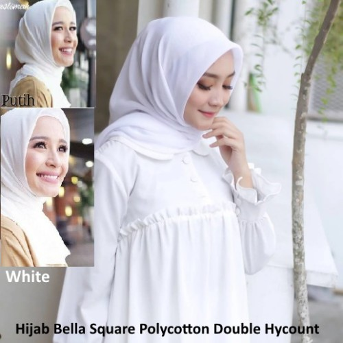 Foto Produk Hijab Bella Square Polycotton Jilbab Segi Empat Polos Warna Putih dari melvikstore