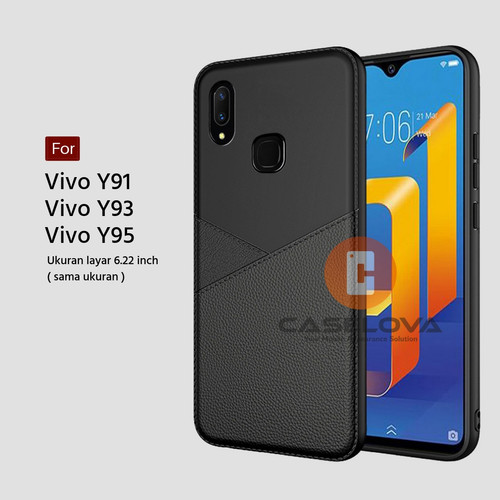 Foto Produk Case Vivo Y91 Y93 Y95 Casing Slim Business Leather Pattern - Hitam dari Caselova Store