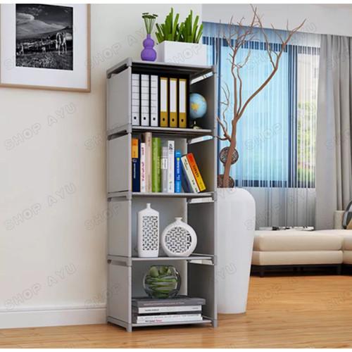 Foto Produk Rak serbaguna 5 tingkat 4 susun rak buku portable lemari multi fungsi - Putih cow pot dari SHOP AYU