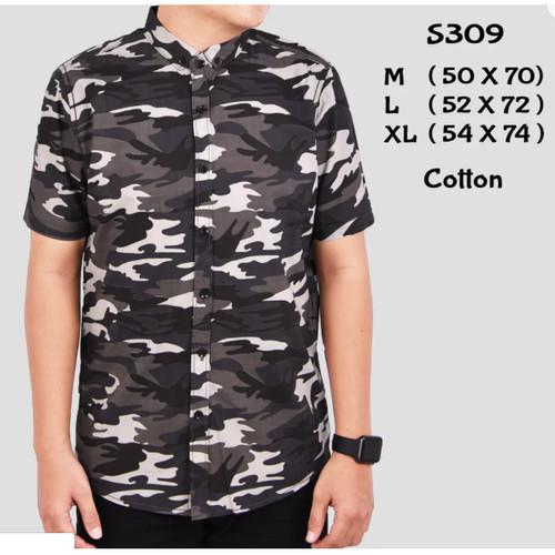 Foto Produk Trend masakini S309 Kemeja Pria Lengan Pendek Motif Tentara Army Murah dari Divha Store