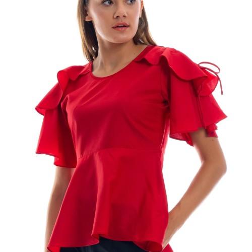 Foto Produk Ima Red Blouse - Merah, S dari Voerin Official