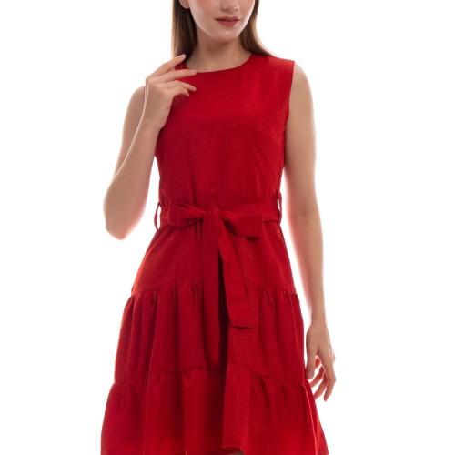 Foto Produk Selena Jacquard Dress - Merah, M dari Voerin Official