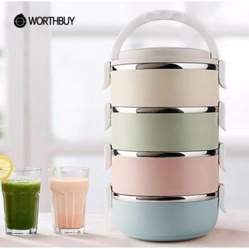 Foto Produk Eco Lunch Box Stainless Steel Rantang 4 Susun- Multicolour dari Blooming_deal