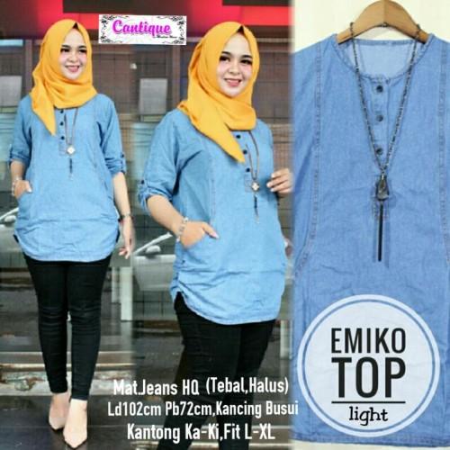 Foto Produk Baju Atasan Wanita Tunik Muslim Emiko Top Jeans High Quality - Biru Muda dari Busana Muslim Modern 77