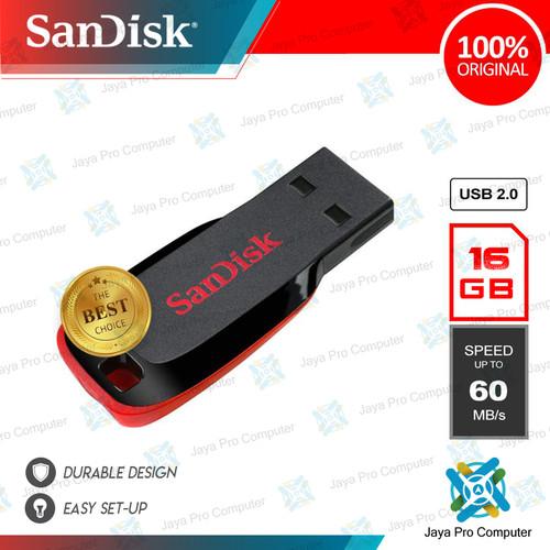 Foto Produk Sandisk Cruzer Blade CZ50 16GB - Flash Disk/ Flashdisk 16 GB 2.0 dari Jaya Pro Computer