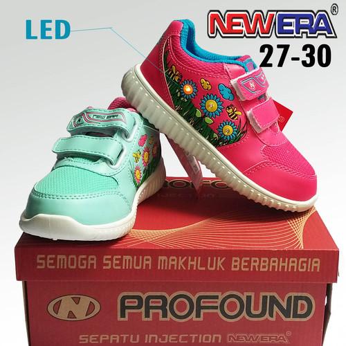 Foto Produk SEPATU ANAK LAMPU ORIGINAL NEW ERA FLORA SEPATU ANAK TK LED NYALA - Merah Muda, 27 dari ANEKARAGAM DOT COM