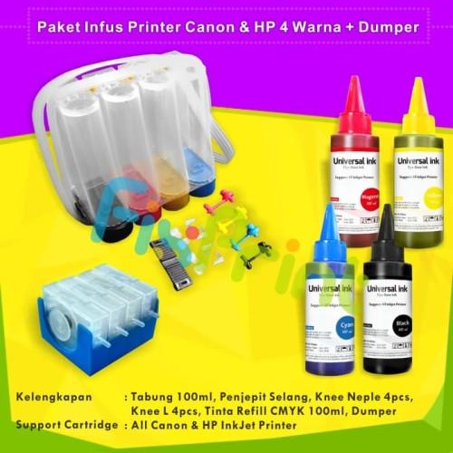 Foto Produk Paket Tabung Infus + Tinta Refill 100ml CMYK + Dumper Printer Canon HP dari FixPrint Jakarta