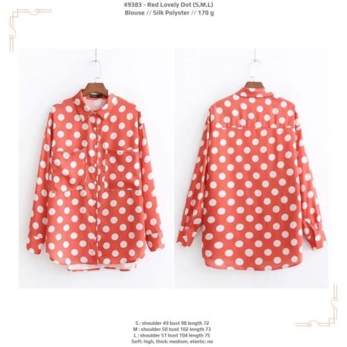 Foto Produk 49383 Red Lovely Dot Blouse / Blouse Merah Polkadot Putih dari XineShop