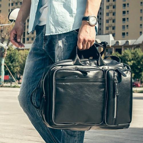 Foto Produk Tas Ransel Kulit Pria Import (HURRICANE) - Hitam dari Leather Concept