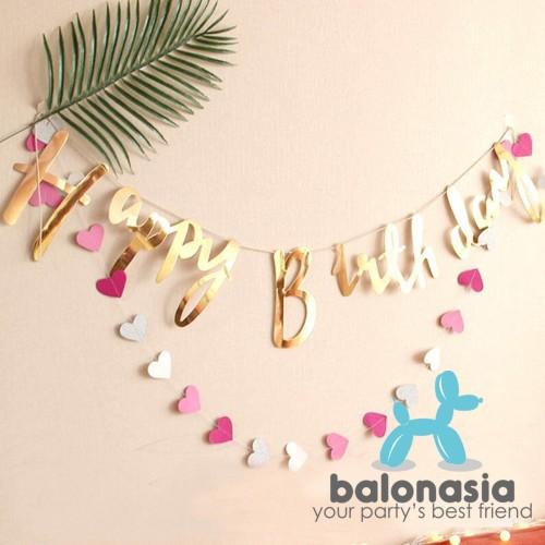 Foto Produk Banner Ulang Tahun Latin / Bunting Flag Happy Birthday - Silver dari Balonasia