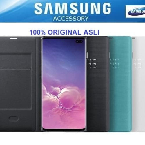 Foto Produk 100% Original SAMSUNG LED View Cover Galaxy S10+ S10 Plus Flip Case - Hitam dari Pasti Original Asli
