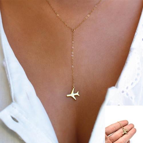 Foto Produk Hot Women Alloy Tiny Airplane Pendant Necklace Y Shape Layered dari Indo Store.id