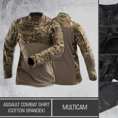 Foto Produk Assault Combat Shirt (Cotton Spandex) Multicam dari Jackstorm Tactical Store