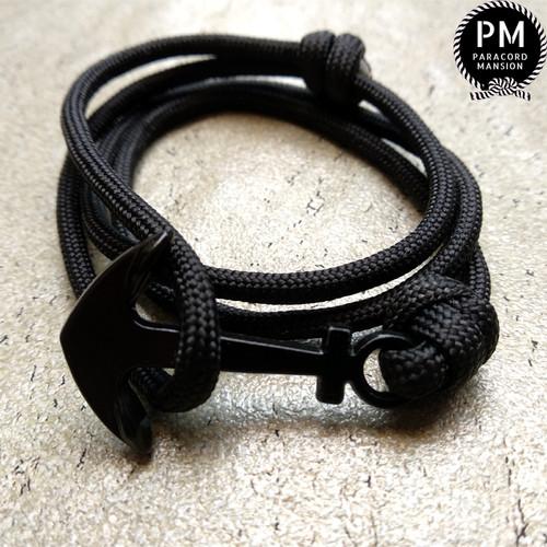 Foto Produk Gelang Paracord Jangkar Hitam Tali Prusik Anchor Hitam Bracelet dari Paracord Mansion
