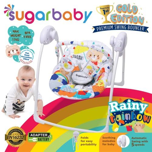 Foto Produk Sugar Baby Gold Edition Premium Swing Bouncer - Rainy Rainbow - Putih dari Sugar Baby Official