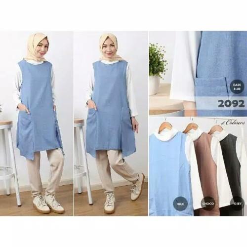 Foto Produk Tunik Remaja Modern / Atasan Wanita Baru / Blouse Muslim Pocket Denim dari victoria-store