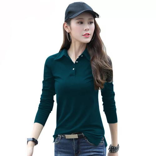 Foto Produk Kaos Lengan Panjang Gaya Korea Wanita Kerah Polo - Jfashion Xiaomei - Hijau dari j--fashion